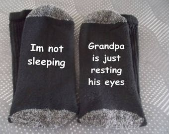 Fun Socks Grandpa Daddy isnt sleeping he is just resting his eyes stocking stuffer Christmas gift Birthday gift