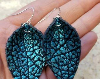 Dark Turquoise fancy crinkle leaf earrings leather leaves metallic boho style gift for her