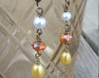 Ready to ship! Antique brass yellow,orange and white pearl dangle earrings Hypoallergenic option