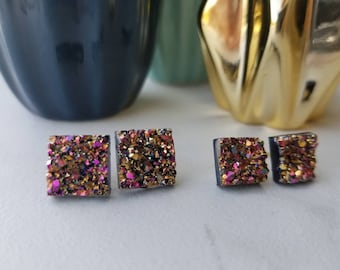 Ready to ship!  Rose gold rainbow earrings 10 mm or 12 mm square faux druzy studs stainless steel for sensitive ears hypoallergenic  crystal