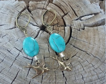 Turquoise and Gold dangle earrings with antique brass swallow charms vintage classy bird lover bird watcher jewelry