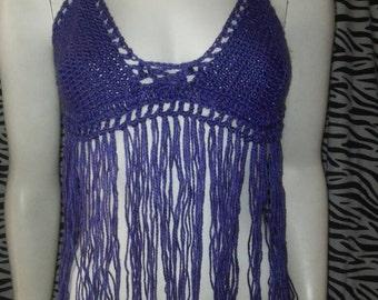 Hand crocheted Purple Metallic Haltertop