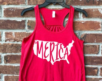 Merica, Merica Tank, Merica Shirt, Merica Adult, July 4th, July 4th outfit, Fourth of July, Ladies Merica, Fourth of July Tank, Memorial Day