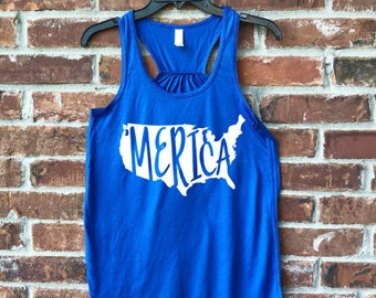 Merica, Merica Tank, Merica Shirt, Merica Adult, July 4th, July 4th outfit, Fourth of July, Ladies Merica, Women Merica, Fourth of July Tank