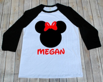 Minnie Disney Inspired Adult Shirt, Disney Family Shirts, Minnie Shirt, Raglans, Adult Disney Shirts, Mickey Shirts, Minnie Shirts