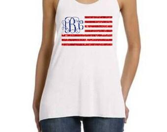 July 4th Tank, 4th of July Tank, Merica, Merica Tank, July 4th outfit, Fourth of July, July 4th Monogram, Flag Monogram, 4th of July