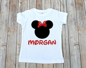 Minnie Shirt, Girls Minnie Shirt, Glitter Minnie Shirt, Monogram Minnie Shirt Minnie Shirt for Girls, Disney Family Shirt, Minnie Me Shirt