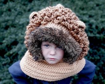 Crochet Pattern-Lion hood, crochet hooded cowl pattern, crochet lion hood pattern, crochet animal, crochet lion, Instant PDF download