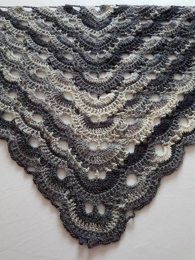 Crochet chal mantón gris chal de encaje crochet envoltura | Etsy