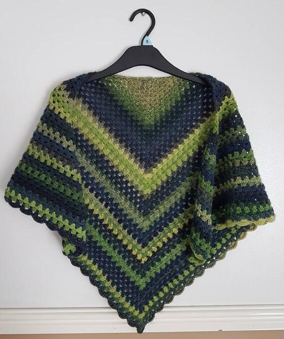 Häkeln Sie Oma Quadrat Schal Schal grünen Schal Häkeln Sie | Etsy