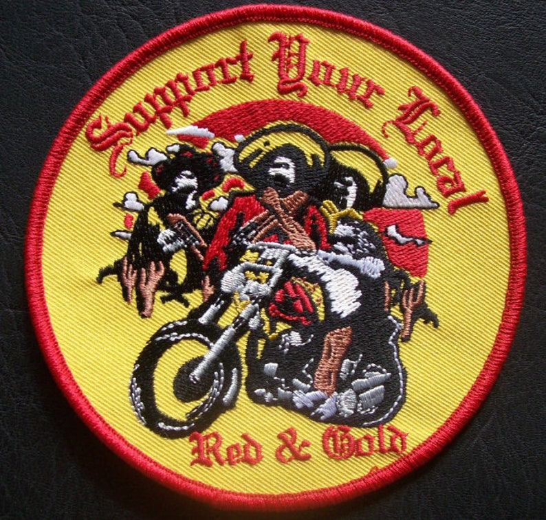 Support Your Local Red And Gold (Bandidos) Patch 3 inch Round