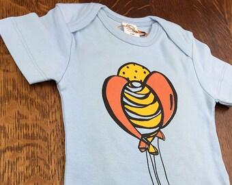 Organic Baby Clothes, Newborn Bodysuit, Baby Boy Gift Idea, Baby Shower, Balloons, Organic Baby Bodysuits, Blue Onesie, Infant Boy Clothes