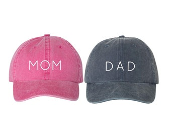 861dc7d9edd9c Mom   Dad Hats    Pregnancy Announcement Hats    More Color Choices    Two  Hats    Couple Hats    Hats    Embroidered    Font 1