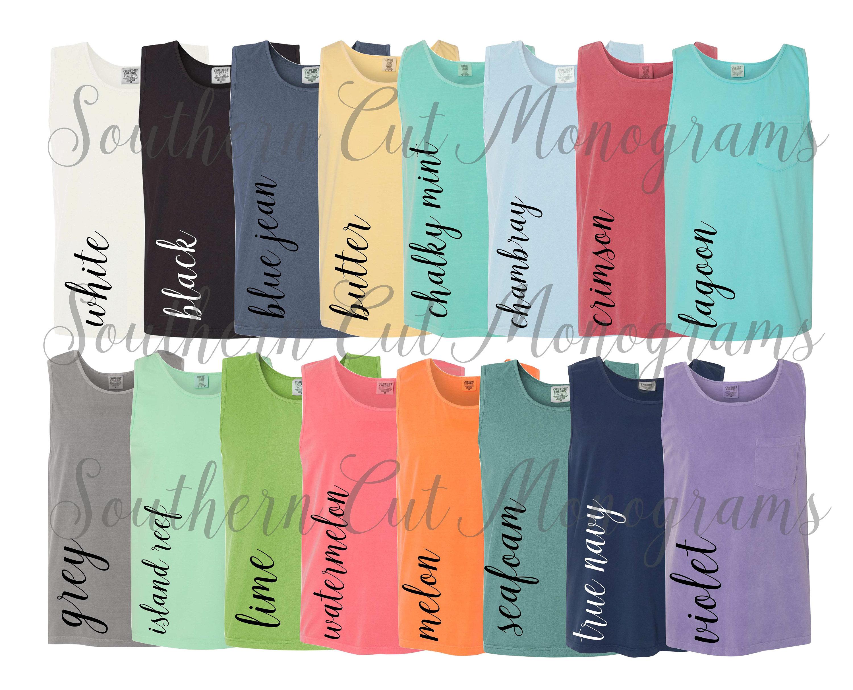 Comfort Colors Color Chart >> Digital File Shirt Color Chart Comfort Colors 9330 Pocket Tanks