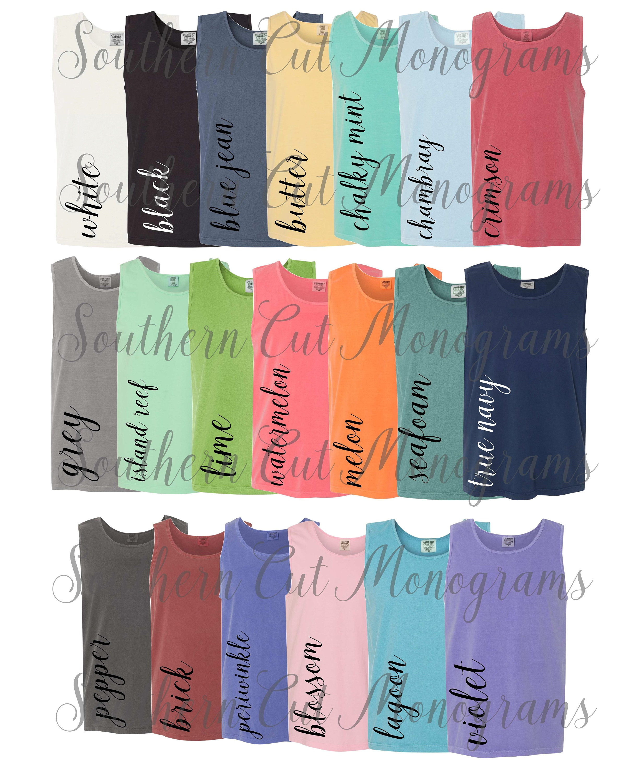 Comfort Colors Color Chart >> Digital File Shirt Color Chart Comfort Colors 9630 Tank Color Chart