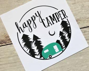Happy Camper Decal // Camper