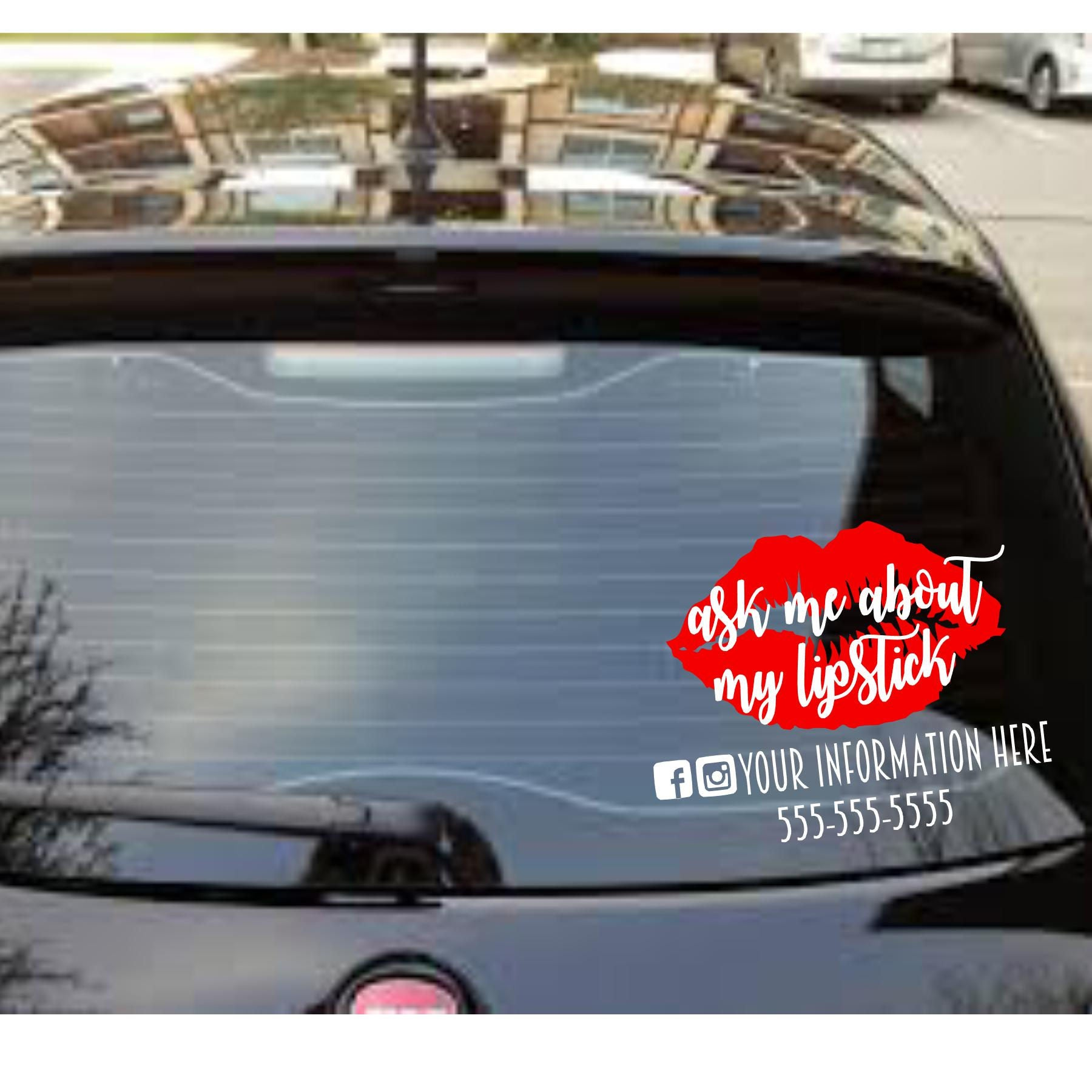 ask me about my lipstick personalized car decal etsy. Black Bedroom Furniture Sets. Home Design Ideas