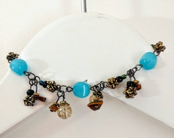 Beautiful Cat's Eye and Tiger's Eye Charm Bracelet