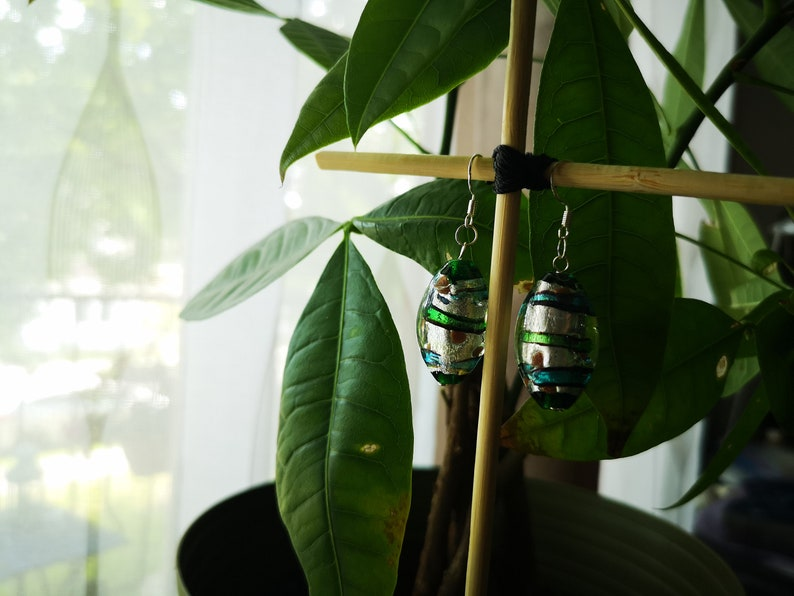 Sterling Silver Dichroic Glass Bead Dangle Earrings
