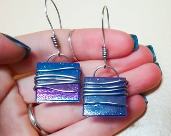 Stainless Steel Wrapped Blue Glass Dangle Earrings