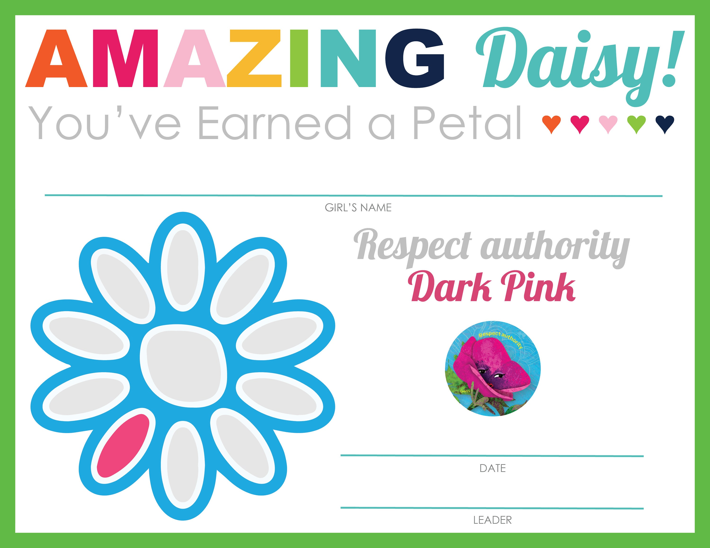 Complete Set Of Girl Scout Daisy Petal Leaf Certificates Etsy