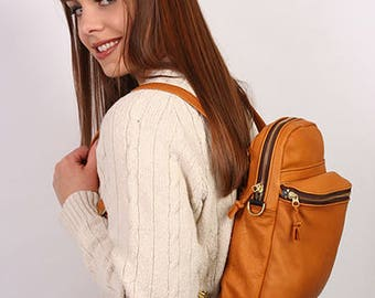 Leather packpack/cross-body bag