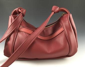 Leather Mini Hobo Bag, Short Strap