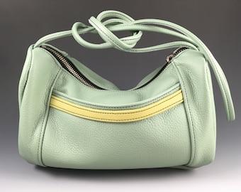 Leather Mini Hobo Bag, Long Strap