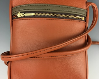Leather cross-body cell phone purse