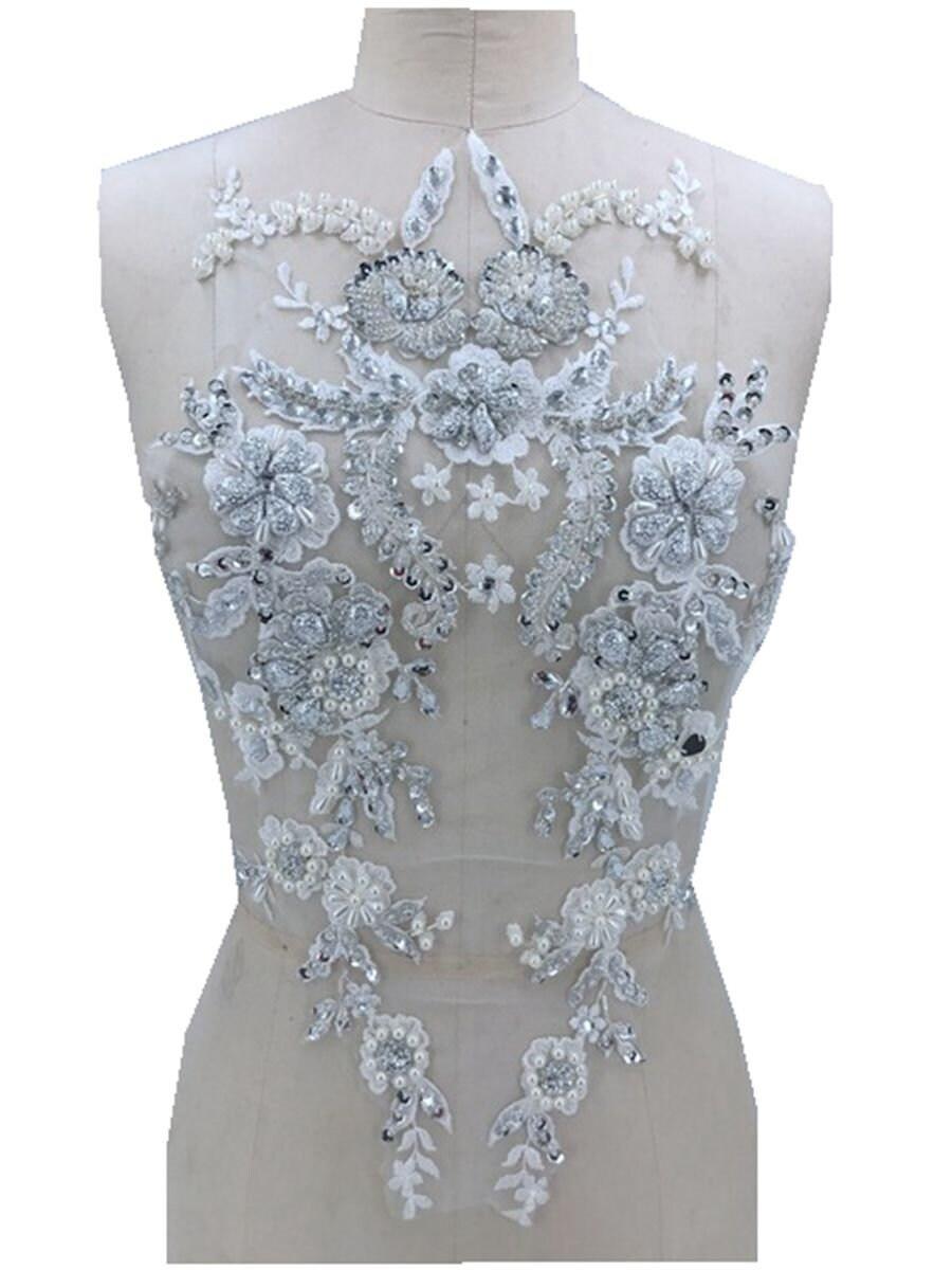 À la main main main faite coudre sur applique strass blanc argenté sur les cristaux de garnissage maille patches 47 * 27cm 530578