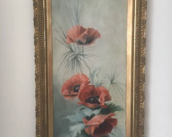 An authentic and original still life oil painting on canvas of poppys