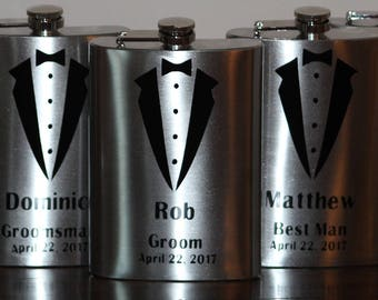 Groomsman Flask - Groomsman Gift - 12 oz Stainless Steel Flask
