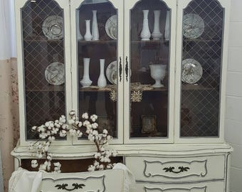 Vintage French Ivory/Gray Distressed China Cabinet~Antique Display Cabinet