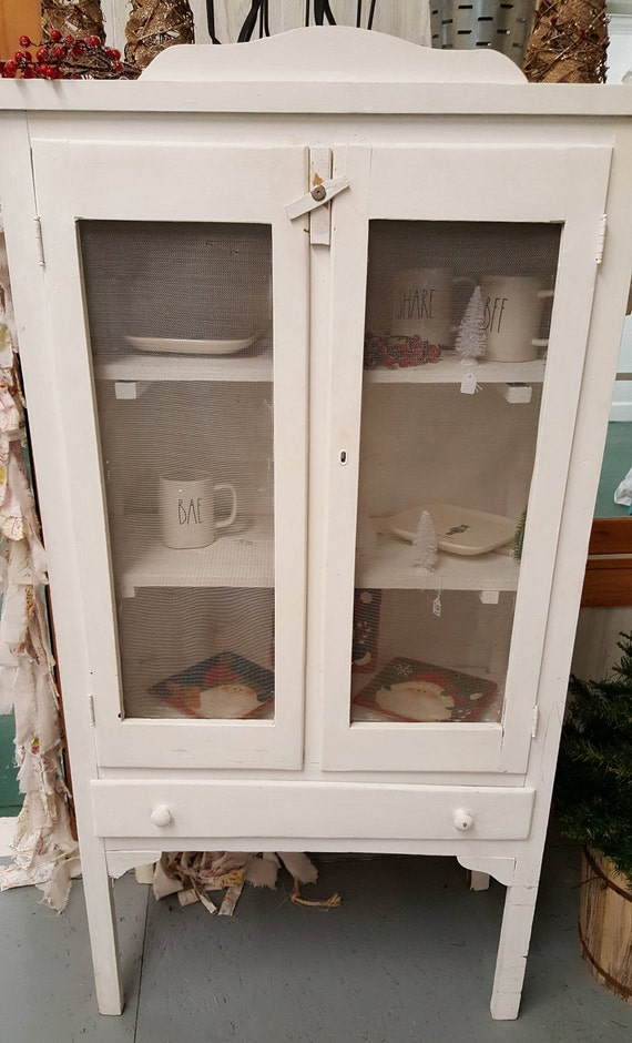 image 0 - Antique White Pie Safe Original Screen Door Fronts And Etsy