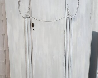 Vintage Great Britain 1950's Armoire/Wardrobe Distressed White/Gray w/ mirror