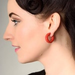 Hazel fakelite hoop stud earrings - Red. Fakelite, bakelite, carved,  pinup, classic, rockabilly, 1940s,  vintage inspired , 40s style,