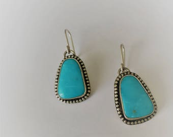Royston Turquoise Sterling Silver Handmade Dangle Earrings