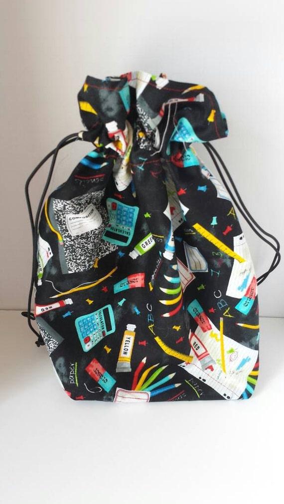 Floral Reversible KnittingCrochetCraft Drawstring Project Bag