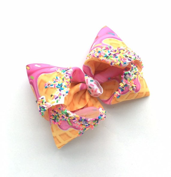 Ice Cream Bow Donut Bow Large Bow Sweets Bow Summer 6inch Bow
