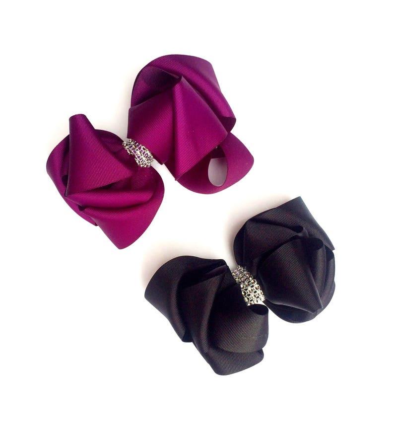 6 Inche Big Bows Headbands Glitter Rhinestones Boutique Hair Clips Girl Lot Head