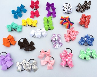 Mini pigtail hair bow  - pigtails - mini hair bows - Gift Set for girls - toddler Clips - 2 INch - baby girl - BratteCo