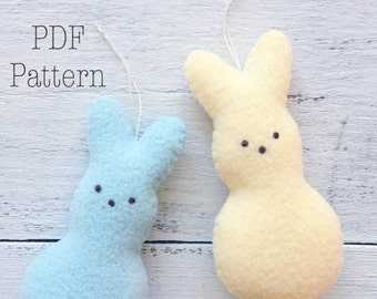 Peep Bunny Ornament Pattern, Bunny PDF Sewing Pattern, Peeps Bunny, DIY Spring Crafts, DIY Easter Crafts, Easter Ornaments, Bunny Ornament