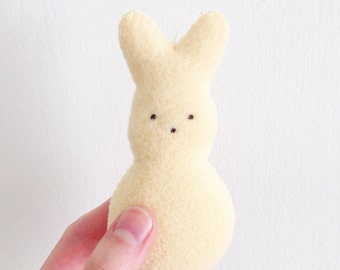 Peep Bunny Christmas Ornament, Handmade Plush Bunny, Christmas Ornaments, Rabbit Ornament, Cute Ornament