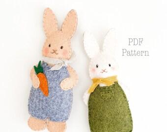 Peter Cottontail Felt Ornament Pattern, Felt Easter Bunny Ornament Pattern, Felt Rabbit Pattern, DIY Easter Crafts, DIY Spring Crafts