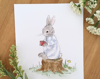 Good Morning, Moon - Blank Note Card, Just Because Card, Bunny Card, Rabbit Card, Illustrated Card, Whimsical Card, Cute Card for Friends