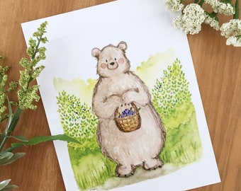The Berry Picker - Blank Note Card, Bear Greeting Card, Bear Card, Cute Cards, Just Because Card, Watercolor Card, Cute Cards for Friends