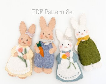 The Cottontails Felt Ornament Pattern Set, Felt Easter Bunny Ornament Pattern, Rabbit Ornament Pattern, DIY Spring Crafts, DIY Easter Crafts