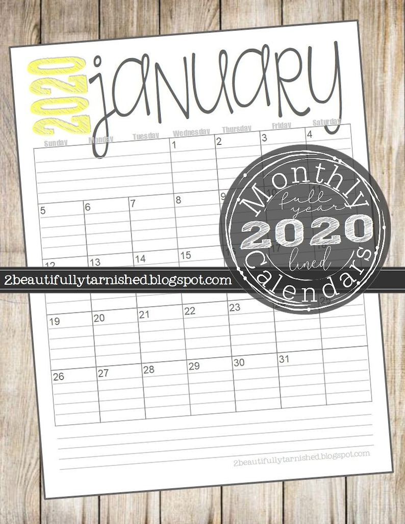 December Lined 2020 Month Calendar 2020 Monthly Lined Calendars Full Year Printable Download   Etsy