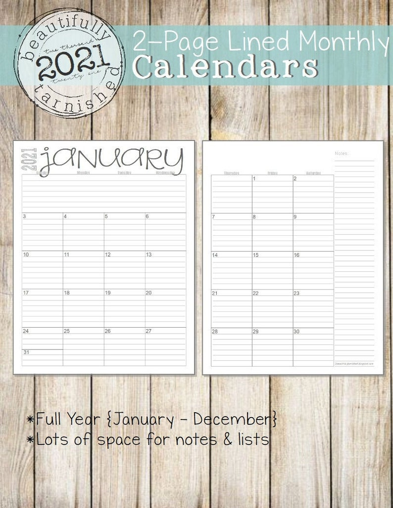 2021 Monthly 2-Page Lined Calendars Full Year Printable | Etsy