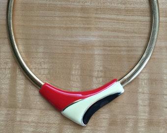 Vintage Gold Tone Enamel V Front Bib Necklace Red Cream Black